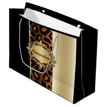 Champagne, Black and Jaguar Print Large Gift Bag
