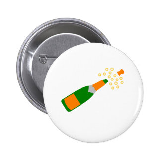 Champagne Bottle and Popping Cork Pinback Button