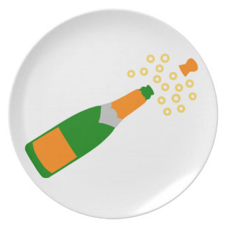 Champagne Bottle and Popping Cork Dinner Plates