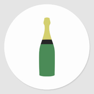 champagne bottle classic round sticker