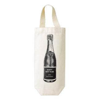 Champagne Bottle Illustration with Custom Message Zazzle HEART Wine Bag