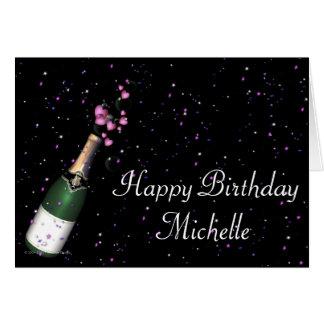Champagne Bottle w Confetti Happy Birthday Card