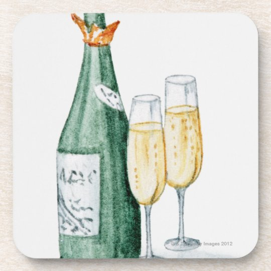 Champagne Bottles and Two Glasses Beverage Coaster
