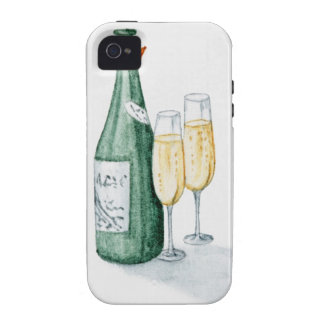 Champagne Bottles and Two Glasses Vibe iPhone 4 Cases