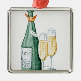 Champagne Bottles and Two Glasses Christmas Tree Ornaments
