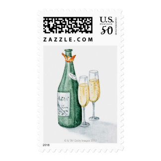 Champagne Bottles and Two Glasses Postage