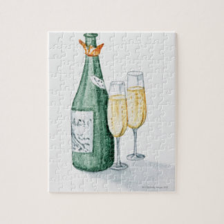 Champagne Bottles and Two Glasses Puzzle
