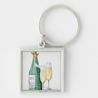 Champagne Bottles and Two Glasses Silver-Colored Square Keychain