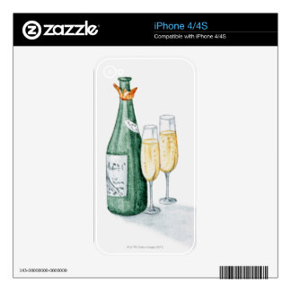 Champagne Bottles and Two Glasses Skin For iPhone 4S