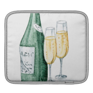 Champagne Bottles and Two Glasses Sleeve For iPads