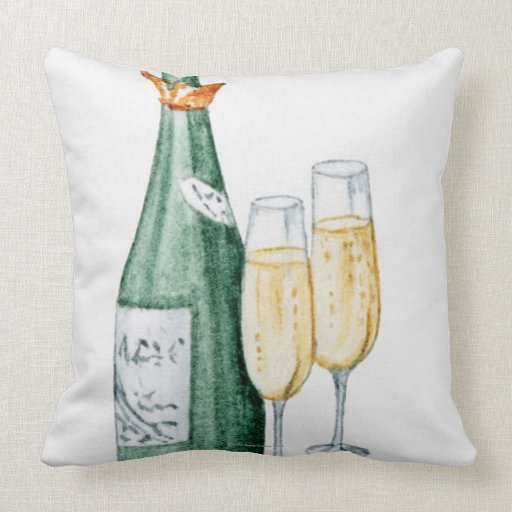 Champagne Bottles and Two Glasses Throw Pillow