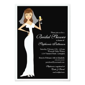 "Champagne Bridal Shower Celebration Invitation 5"" X 7"" Invitation Card"