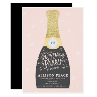 Champagne Brunch and Bubbly Shower Invitation