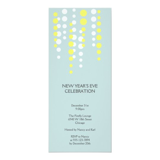 Champagne bubble blue modern chic holiday party card