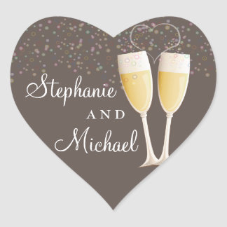 Champagne & Bubbles Celebration Couple Sticker