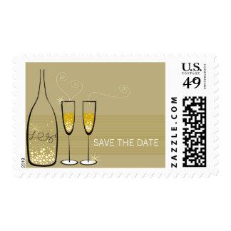 Champagne Bubbles Celebration Save Date Postage
