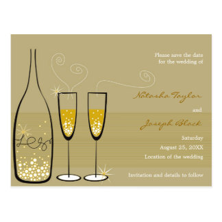 Champagne Bubbles Celebration Save The Date Postcard