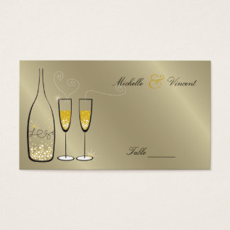 Champagne Bubbles Golden Place / Table Name Card