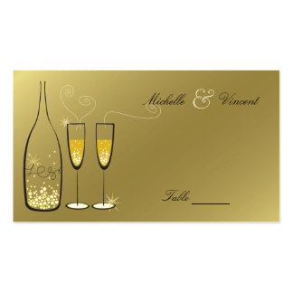 Champagne Bubbles Golden Place / Table Name Card Business Card Templates