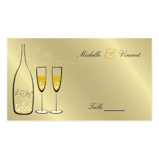 Champagne Bubbles Golden Place / Table Name Card Business Cards