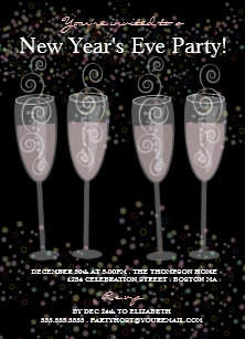 champagne bubbles new years eve party invitation