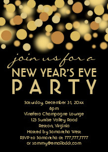 champagne bubbles new years eve party invitations