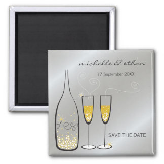 Champagne Bubbles Silver Save The Date Magnet 2 Inch Square Magnet