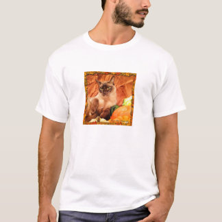 Champagne Burmese Cat with Autumn Gourds T-Shirt