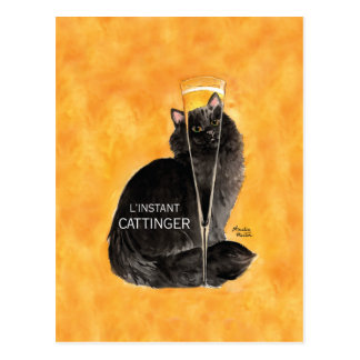 Champagne Cat Postcard