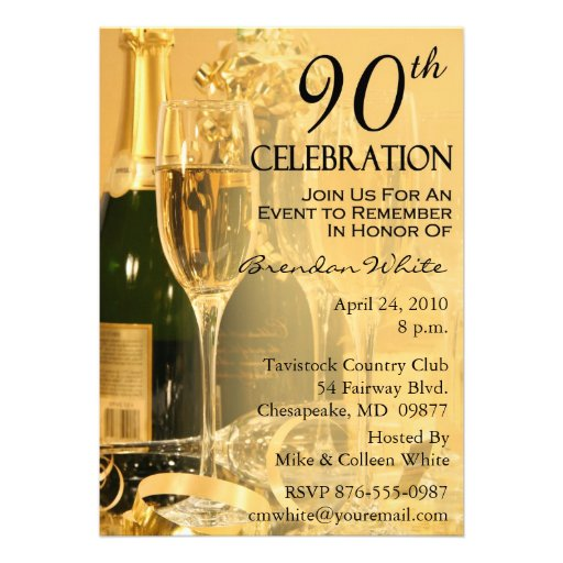 Champagne Celebration 90th Birthday Invitations