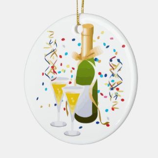 Champagne Celebration Double-Sided Ceramic Round Christmas Ornament
