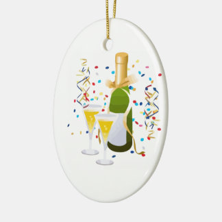 Champagne Celebration Double-Sided Oval Ceramic Christmas Ornament