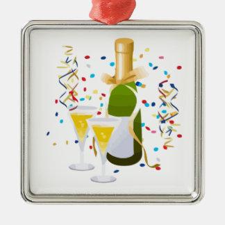Champagne Celebration Square Metal Christmas Ornament