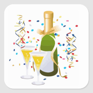 Champagne Celebration Square Sticker