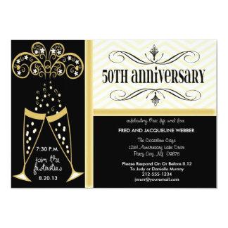 """Champagne & Chevron 50th Anniversary Invitations 4.5"""" X 6.25"""" Invitation Card"""