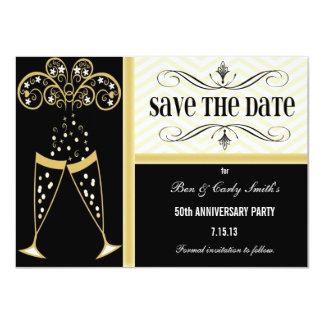 Champagne & Chevron Save the Date Invitation