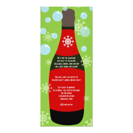 Champagne Christmas Cocktail Party 4x9.25 Paper Invitation Card