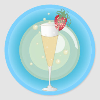 Champagne Classic Round Sticker