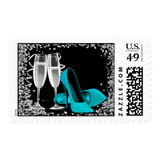 Champagne Cocktail Teal Bue High Heel Shoe Postage
