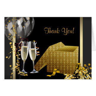 Champagne Confetti Black and Gold Thank You Cards