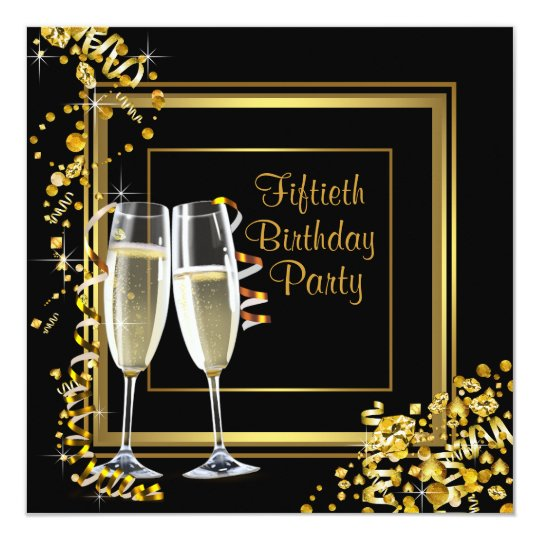 Champagne Confetti Black Gold 50th Birthday Party Invitation
