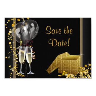 Champagne Confetti Black Gold Save The Date Card