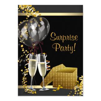 Champagne Confetti Black Gold Surprise Party 5x7 Paper Invitation Card