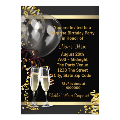 Champagne Confetti Black Gold Surprise Party Card (back side)