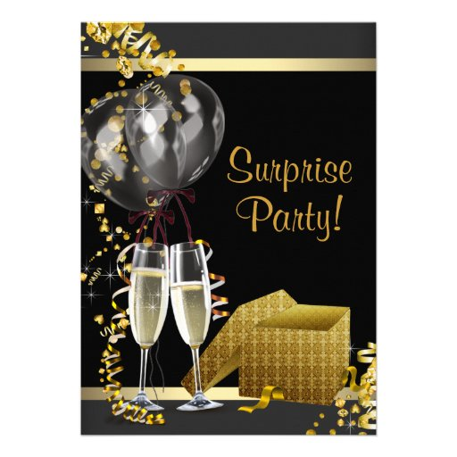 Champagne Confetti Black Gold Surprise Party Card (front side)