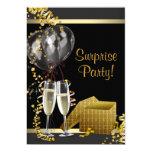 Champagne Confetti Black Gold Surprise Party Card