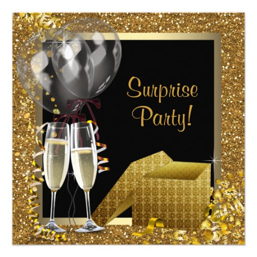 Champagne Confetti Black Gold Surprise Party Personalized Announcements