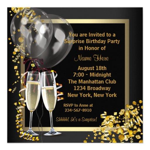 Champagne Confetti Black Gold Surprise Party Personalized Invites (back side)