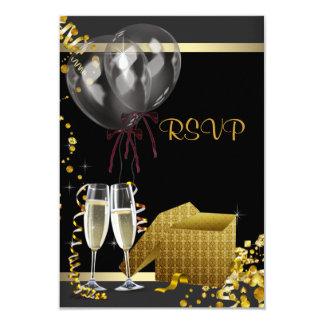 Champagne Confetti Black Gold Surprise Party RSVP Personalized Announcement
