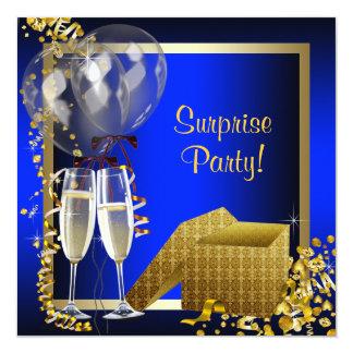 Champagne Confetti Blue and Gold Surprise Party Custom Invitations